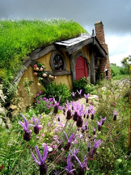 Ngôi nhà của những người Hobbit ở Rotorua, New Zealand.