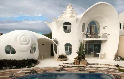 Căn nhà với hình dạng vỏ sò ở Mêxicô.
