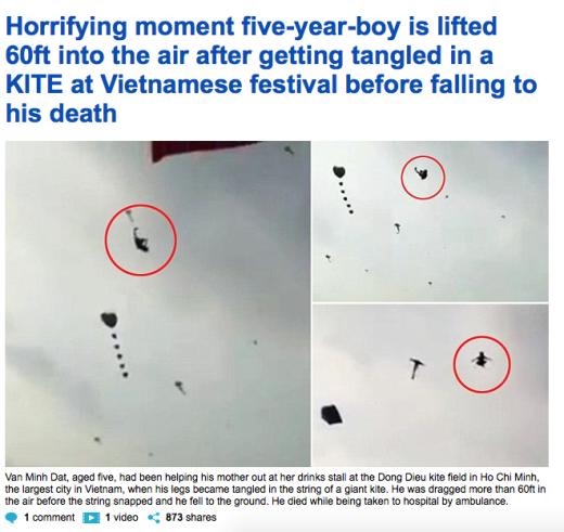 Trang Daily Mail bàng hoàng đưa tin về vụ tai nạn của bé Đạt