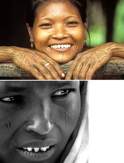 Tập tục mài nhọn răng đã tồn tại rất lâu trong các bộ lạc thiểu số trên khắp thế giới, từ Bali, Việt Nam cho tới Sudan. Theo các phát hiện khảo cổ thì ngay cả người Maya cũng thực hiện tập tục mài nhọn răng này. Họ thường mài nhọn những cái răng cửa. Việc này đại diện cho nhiều thứ, như sự trưởng thành hay cấp bậc trong xã hội.