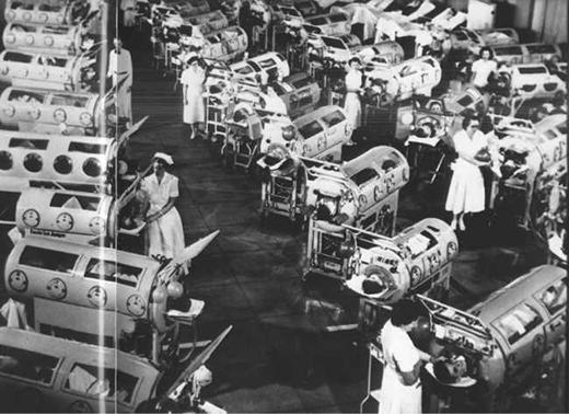 Bên trong nơi điều trị cho trẻ em bị bại liệt.