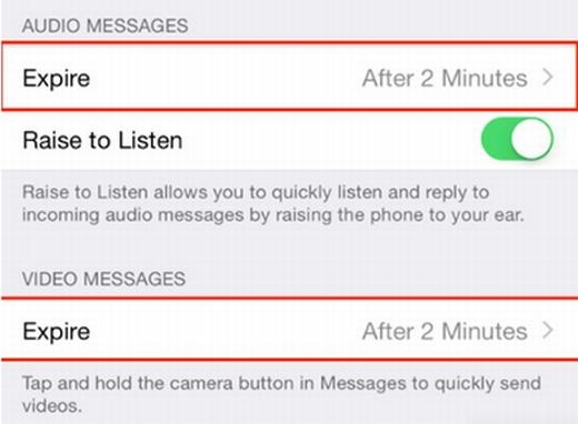 Bạn biết Snapchat có thể gửi tin nhắn, hình ảnh, video… và xóa sau một thời gian nhất định? Trên iPhone cũng có thể làm được điều này bằng cách vào Settings > Messages > kéo xuống dưới cùng > chọn thời gian (2 phút hoặc vĩnh viễn).
