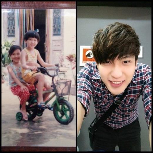 Chàng hot boy nổi tiếngBê Trầnvới dáng đứng mặc vest hay chạy xe đạp ngày bé đều vô cùng đáng yêu. Nụ cười của anh chàng đẹp trai này vẫn như thủa thơ bé.