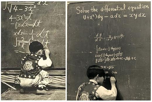 Kim xuất hiện trên truyền hình của Nhật Bản năm 1969 khi đang giải toán. Ảnh:TheKorea Herald.