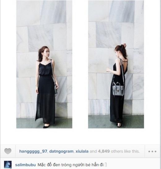 Còn cô nàng Salim lại diện một bộ đầm đen quyến rũ và sexy. Cô nàng cảm thấy mình 'thon gọn' hơn trong bộ đầm màu đen này.