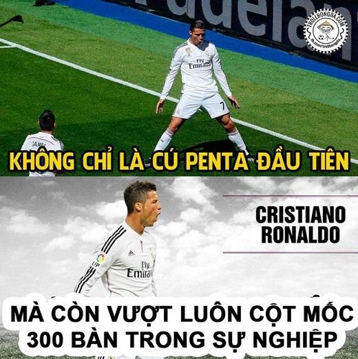 Ronaldo còn lập 2 kỷ lục cá nhân khác trong chiến thắng 9-1 của Real trước Granada khi lần đầu tiên ghi 4 bàn trong một trận đấu nhiều hơn hai lần ở cùng mùa giải và lập penta sau 90 phút thi đấu.