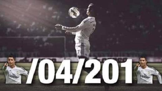 Trận đấu giữa Real và Granada diễn ra ngày 5/4/2015. Hình ảnh Ronaldo ăn mừng chiến thắng sau khi 'lập penta' thay thế cho những số 5