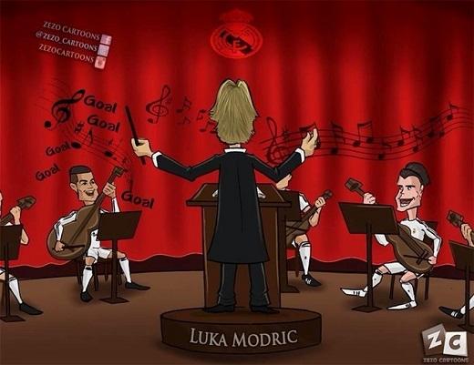Dù không ghi bàn, Luka Modric vẫn được đánh giá rất cao trong trận đại thắng của Real. Tiền vệ người Croatia là nhạc trưởng giúp các đồng đội thi đấu thăng hoa.