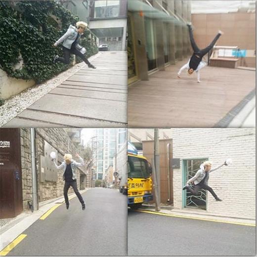 Amber thích thú nhảy cao giữa đường, gây sự chú ý với fan