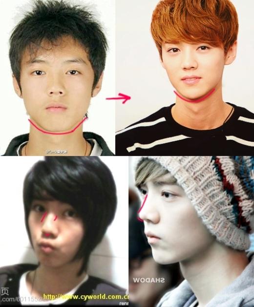 """Trong khi đó, cựu thành viên EXO, Luhan bị """"cáo buộc"""" chỉnh sửa mũi và gọt hàm thon gọn thấy rõ."""