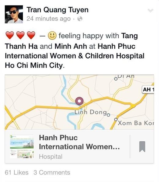 Thông tin này càng được tăng thêm độ chính xác khi bạn thân của Tăng Thanh Hà – stylish Quang Tuyến đã check-in cùng cô tại bệnh viện. - Tin sao Viet - Tin tuc sao Viet - Scandal sao Viet - Tin tuc cua Sao - Tin cua Sao