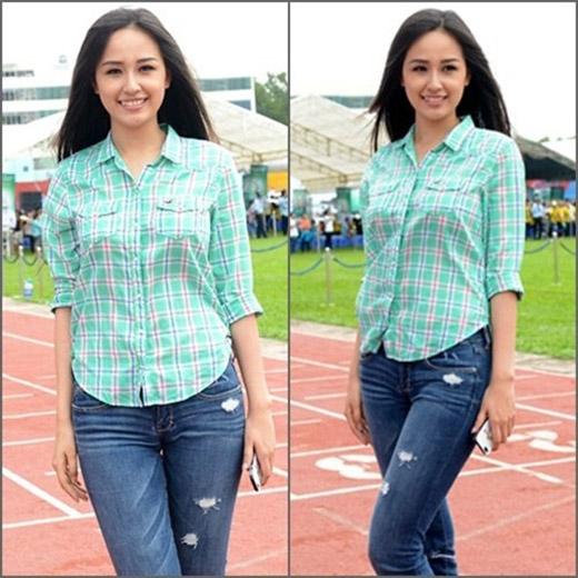 Hoa hậu Việt Nam 2006 rất thích những item đơn giản như quần jeans mix cùng áo phông và đi giầy bệt.