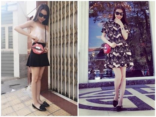 Nữ ca sĩ - người mẫu nhanh nhạy mix túi đôi môi với loạt trang phục đường phố. Nhiều người tiêu dùng khen ngợi khả năng linh động, dễ dàng phù hợp với nhiều phong cách của xu hướng này.
