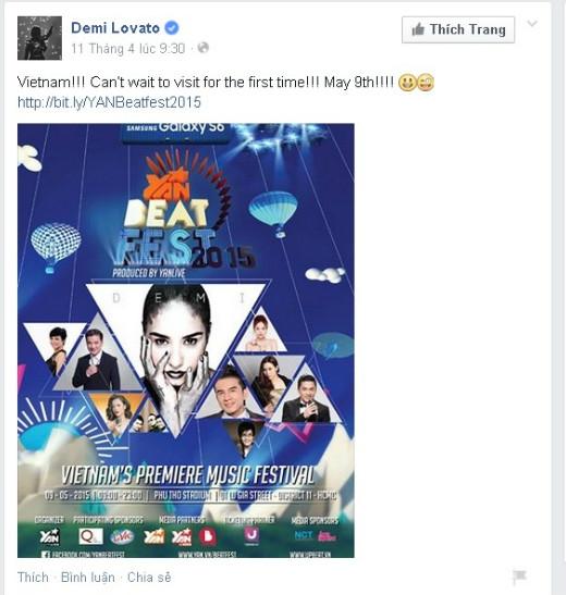 Lời chia sẻ của Demi Lovato trên Facebook của mình