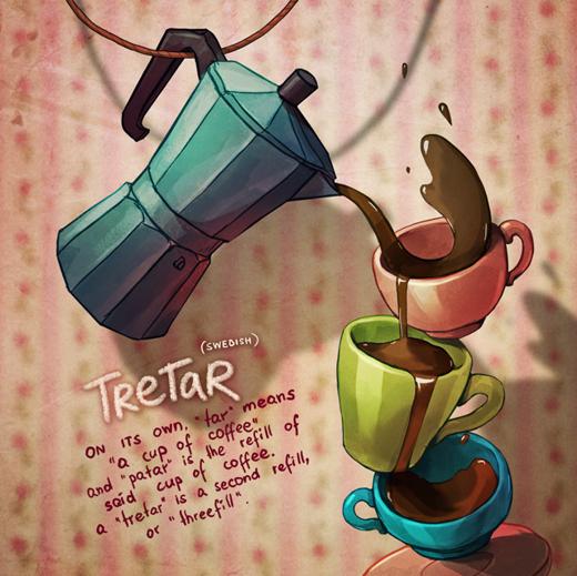 """Trong tiếng Thụy Điển,""""tar""""có nghĩa là một cốc cà phê còn""""patar""""có nghĩa là thêm cà phê. Vậy nên bạn có thể hiểu'TreTar'có nghĩa là châm đầy cà phê lần thứ 2 hoặc châm đầy cà phê lần thứ 3."""