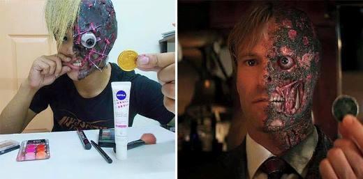 Để có được gương mặt giống với nam chính trong bộ phim Người hai mặt, anh chàng này đã trang điểm khá cầu kỳ. Có lẽ điểm nhấn ở bức ảnh chính là chiếc đồng xu trong phim được thay bằng miếng sô cô la đồng xu.