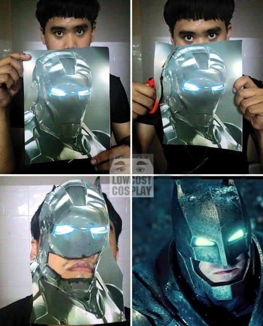 Chỉ với tấm hình Iron Man, chàng thanh niên đã 'biến hình' thành siêu nhân Người dơi. Quá sáng tạo.