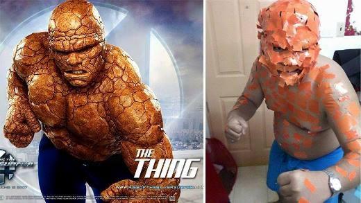 Nếu muốn hóa thân thành nhân vật ngoài hành tinh trong bộ phim The Thing, bạn chỉ cần dùng một cuộn băng keo màu cam giống như anh chàng này là đã 'thành công'.