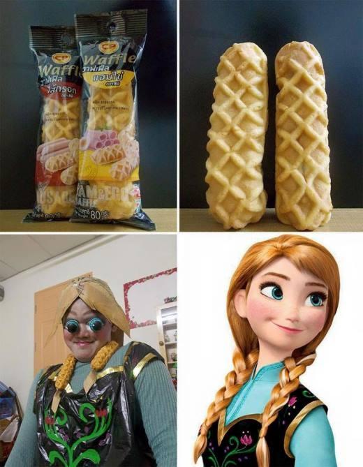 Với hai chiếc bánh, bạn trẻ này đã biến tấu thành mái tóc của cô nàng Anna trong bộ phim Frozen.