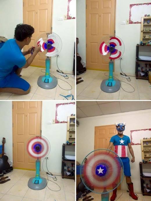 Chỉ một chút biến tấu thôi là anh chàng này đã có chiếc khiên của Đội trưởng Đội Avengers -Captain America.