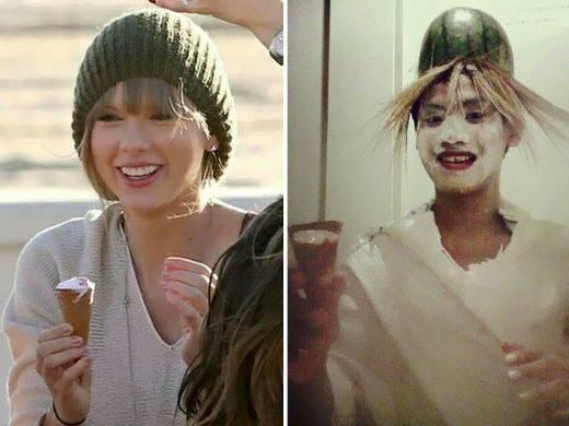 Taylor Swift được 'đội mũ' dưa hấu, 'tóc' sợi rơm. Có vẻ như 'cô nàng' bôi kem hơi quá tay.
