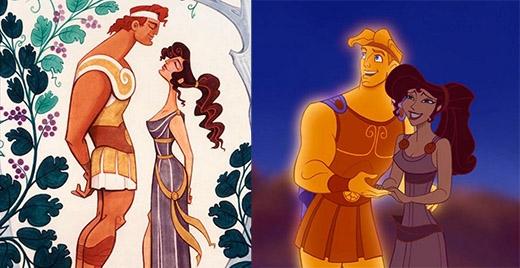 Hercules và Megara trông khá giống với bản phác thảo của mình