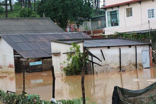 Nhiều căn nhà chìm trong biển nước