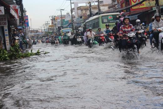 Một số phương tiện đã bị chết máy, người dân phải dắt bộ trong dòng nước đen và bốc mùi hàng cây số