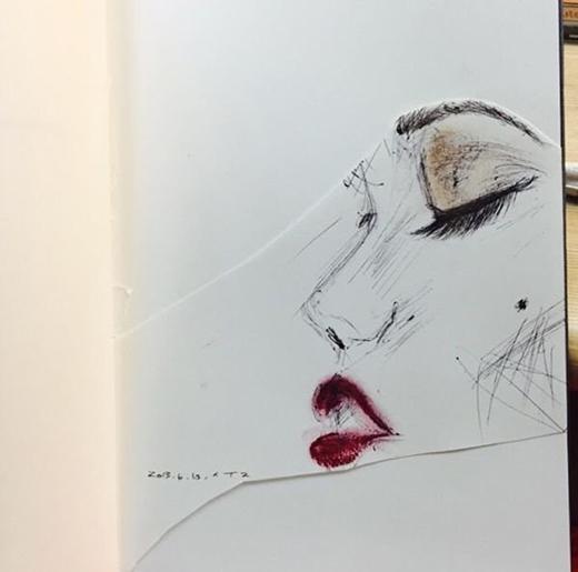 Một số hình ảnh phác họa về chân dung IU được Suzy chia sẻ trên mạng xã hội.