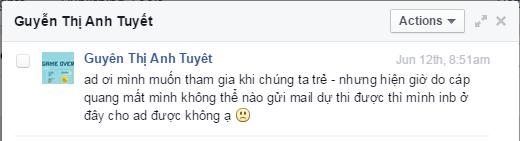 Một đoạn tin nhắn của khán giả gửi đến YAN