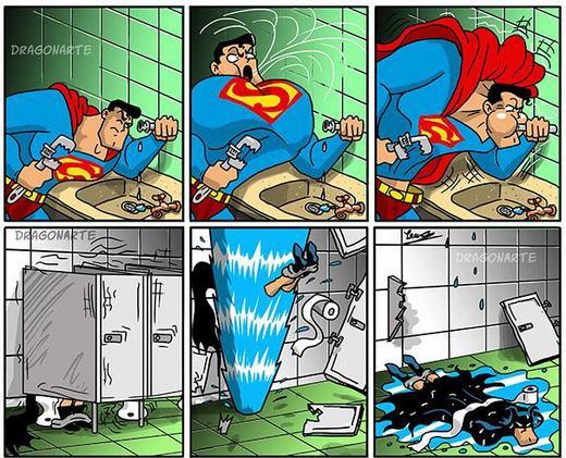 ...còn đây là khi anh ấy thành thợ sửa ống nước. Thật tội nghiệp Batman đang đi vệ sinh!