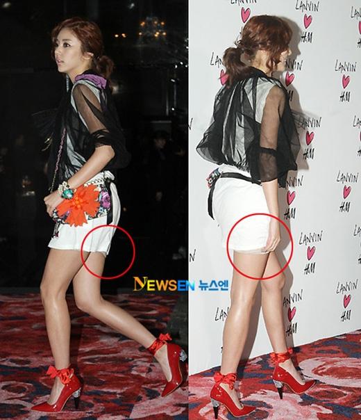 Dù cố gắng chỉn chu nhưng Son Dam Bi đã vô tình để lộ vải thừa làm xấu đi chiếc váy mà cô đang mặc.