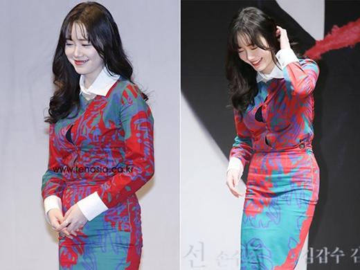 Có lẽ vì trang phục khá nhỏ so với thân hình của Goo Hye Sun nên đã khiến cô lúng tung khi bung nút ngay vòng 1.