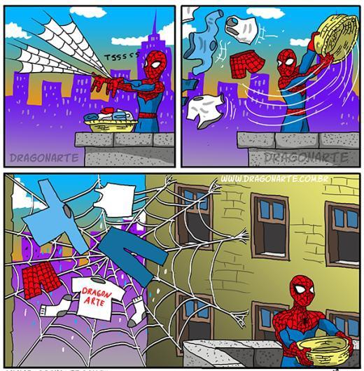 Khi Spider Man phơi đồ