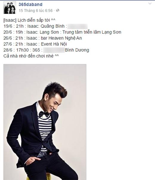 fanpage của 365 bắt đầu xuất hiện lịch diễn riêng của Isaac. - Tin sao Viet - Tin tuc sao Viet - Scandal sao Viet - Tin tuc cua Sao - Tin cua Sao