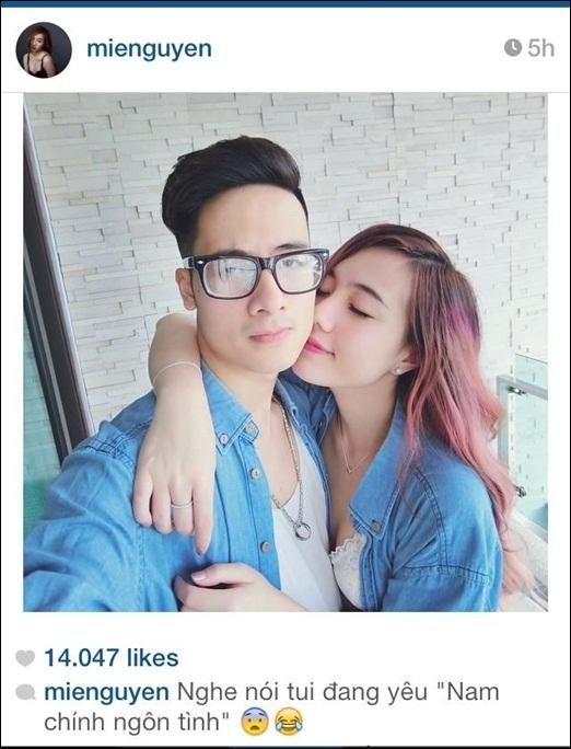 Mie Nguyễn mới đây khoe trên trang cá nhân bức hình tình cảm chụp cùng người yêu JV. Trước đó không lâu, JV được bầu chọn là 'hình mẫu của nam chính ngôn tình'. Mie Nguyễn tỏ ra khá thích thú với việc này,