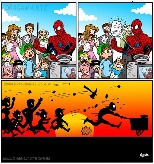 Khi Spider Man đi... bán kem.