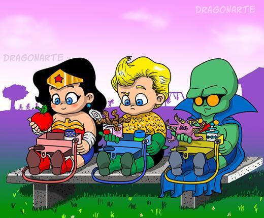 Khi các bé siêu nhân ăn sáng.