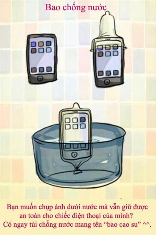 """Không cần phải suy nghĩ có nên mua một chiếc điện thoại có khả năng chống sốc, chống nước nữa, bao cao su sẽ """"hiện thực hóa"""" ước mơ chụp ảnh dưới nước của bạn một cách dễ dàng nhất."""