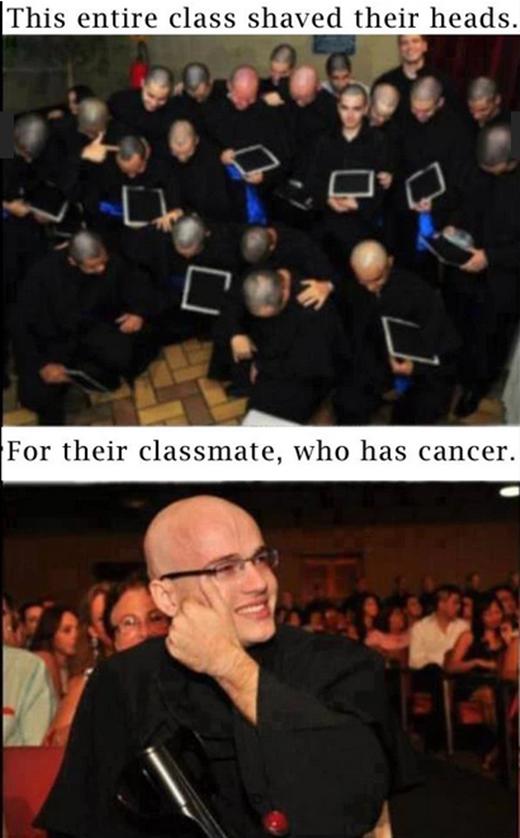 Các học sinh trong lớp này đều đã cạo đầu trọc để cổ vũ một người bạn đang phải chiến đấu với căn bệnh ung thư.