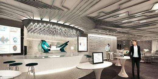 Quầy bar hiện đại với các nhân viên bartender là những chú robot pha chế thức uống cho du khách theo yêu cầu.