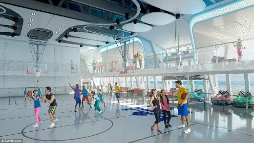 Sân bóng rổ để phục vụ nhu cầu thể thao của các hành khách trên tàu.