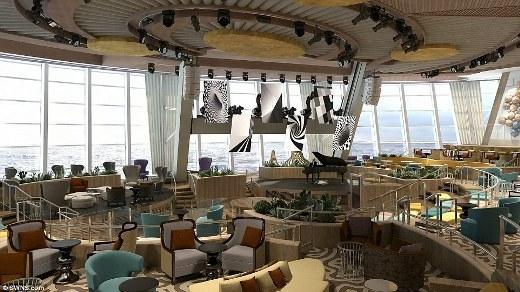 Rạp hát thu nhỏ ở bên trong chiếc tàu, nơi hành khách có thể thưởng thức những buổi trình diễn âm nhạc vào buổi tối.