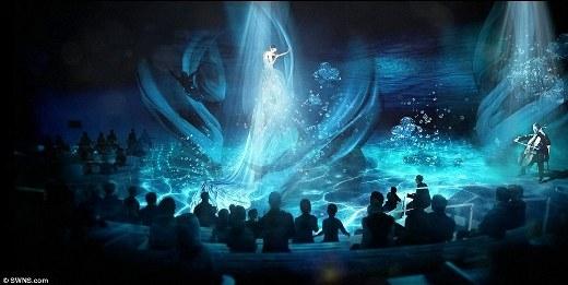 Một buổi trình diễn nghệ thuật ánh sáng ở bên trong chiếc tàu du lịch biển thông minh đầu tiên trên thế giới.