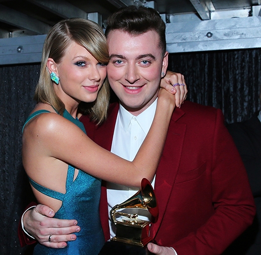Taylor và Sam Smith tại lễ trao giải Grammy 2015.