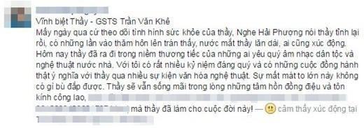 Những chia sẻ của cộng đồng mạng trước sự ra đi đột ngột của cố GS - TS Trần Văn Khê.