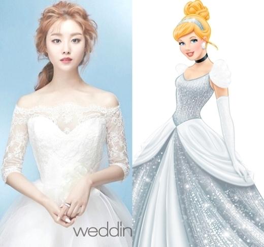 Ji Eun (Secret) đẹp thanh thoát trong chiếc váy cưới màu trắng trông như nàng Lọ Lem lộng lãy đến đêm dạ vũ cùng hoàng tử.