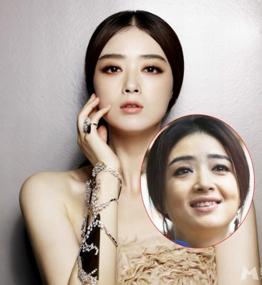Khi photoshop, Tưởng Hân là thiên thần. Nhưng ảnh đời thực, cô lộ nét già nua thấy rõ.