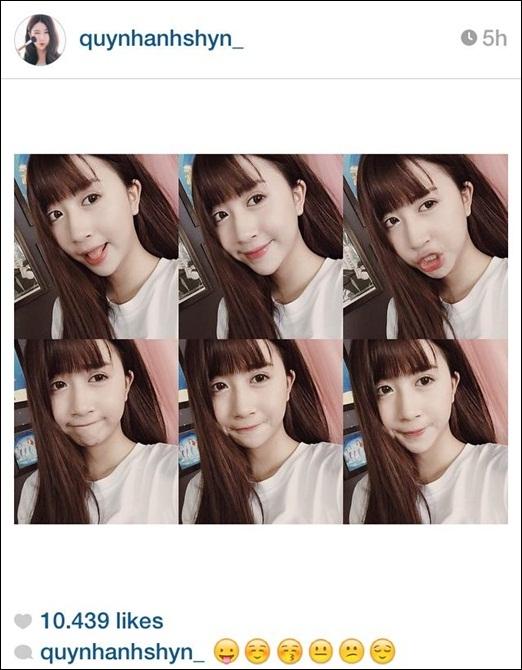 Quỳnh Anh Shyn'thử sức' mình với những icon dễ thương trên mạng xã hội. Quỳnh Anh Shyn được xem là gương mặt hot girl xinh xắn và 'đình đám' nhất hiện nay. Trông cô nàng dù với biểu cảm nào cũng vô cùng đáng yêu.