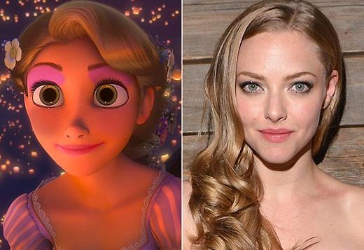 Rõ ràng không ai có thể giống với Rapunzel hơn nữ diễn viên Amanda Seyfried, từ mái tóc vàng óng, đến đôi mắt xanh xinh đẹp.
